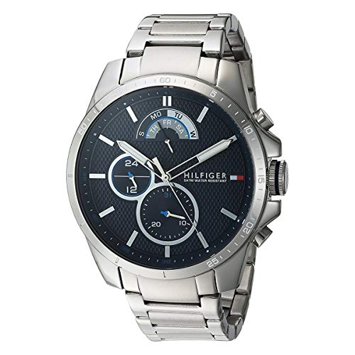 Tommy Hilfiger Mens Cool Sport Quartz Watch with Stainless-Steel Strap, Silver, 21 (Model: 1791348