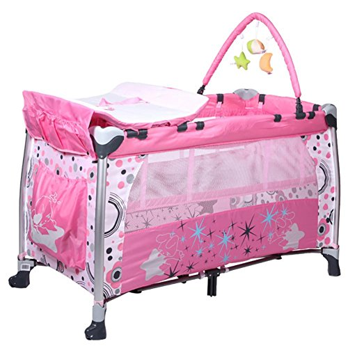 Yinger Bunk Crib Foldable Crib Game Beds Baby Cot Travel Deluxe Baby