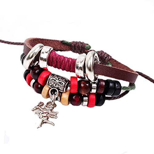 iVan Boys / Girls Fashionable Vintage Braided Leather Wax Rope Beaded Elegant Alloy National style Charm ()