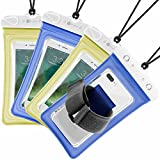 Waterproof Phone Pouch, 4 Pack F-color Clear Floating Waterproof Phone Case with Armband Beach Bag for Boating, Skiing, Water Sports, Compatible with iPhone X 8 7 6S Plus SE 5, Google Pixel and More