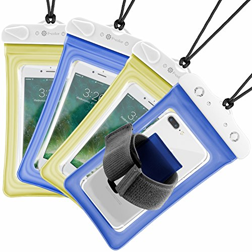 Waterproof Phone Pouch, 4 Pack F-Color Clear Floating Waterproof Phone Case with Armband Beach Bag for Boating, Skiing, Water Sports, Compatible with iPhone X 8 7 6S Plus SE 5, Google Pixel and More by F-color