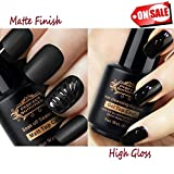 clear polish set - Perfect Summer Matte Glossy Top Coat Set - Non-Wipe/Non-Cleaning Top Gel Nail Polish Kit,8ml each