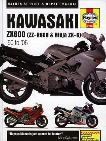 kawasaki zx600 zz r600 ninja zx 6 90 to 06 haynes manuals rh amazon com 2005 Kawasaki ZX600 2002 Kawasaki ZX600