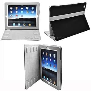 CrazyOnDigital Designed Leather Case for Apple iPad 2, iPad 2G - 16 GB, 32 GB, 64 GB, 3G, Wi-Fi - 2 Tone Black and Gray (iPad2_BlkLthr212_Gray_Scrn_WR)