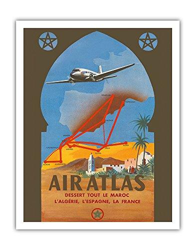 Air Atlas   Dessert Tout Le Maroc  L Algerie  L Espagne  La France  Services All Of Morocco  Algeria  Spain  France    Vintage Airline Travel Poster By Renluc C 1950   Fine Art Print   11In X 14In
