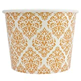Elegant Gold Paper Dessert Cups - 12 oz Holiday Ice Cream Bowls - Gold Paper Ice Cream Cups Perfect For Weddings - Frozen Dessert Supplies - Fast Shipping! 50 Count