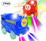 Track Cars Light Up Toy Car Track (2-Pack),5 LED Flashing Lights,Glow in The Dark Compatible with Neo & Magic Tracks and Other Type of Track, Boys and Girls (001-(Red+Blue)