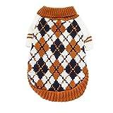 Adarl Winter Warm Pet Sweater Clothes Pullover Knitwear Coat Diamond Lattice Costumes Apparel for Puppy Dog Cat Orange/XL
