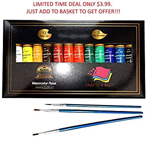 Watercolor Paint Set by Crafts 4 All 12 Premium Quality Art Watercolors Painting Kit for Artists, Students & Beginners – Perfect for Landscape and Portrait Paintings on Canvas (12 x 12ml)