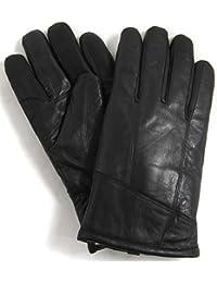 """Bushga Mens Black Luxury Genuine Leather Gloves with Sheepskin Wool Lining - Large (9.5"""")"""