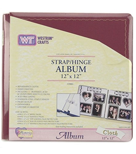 - 12x12 Burgundy Strap Hinge Cloth Album