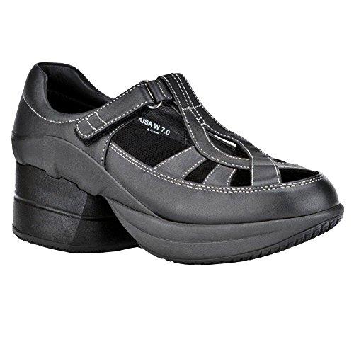 - Z-CoiL Women's Z-Breeze Slip Resistant Enclosed Coil Black Leather Sandal 8 C/D US