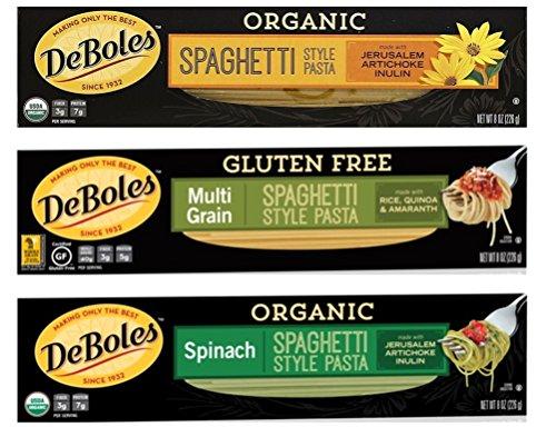 DeBoles Spahetti Style Pasta 3 Flavor Variety Bundle, (1) each: Multi Grain, Jerusalem Artichoke, Spinach (8 - Organic Deboles Pasta