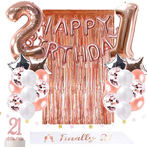 OUGOLD 21st Birthday Decorations Rose Gold Party Supplies for her-Include Finally 21 sash,Happy Birthday Balloon, foil Curtain Backdrop Props, Garland Star, Cake Topper &Confetti balloon/21st -