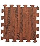 Kangkang@ Joint Mat Interlocking Foam Mats EVA Foam Floor Mats (9 Tiles) Brown Wood Grain Foam Mat Green Waterproof Insulation Imitation Wood Puzzle Mat