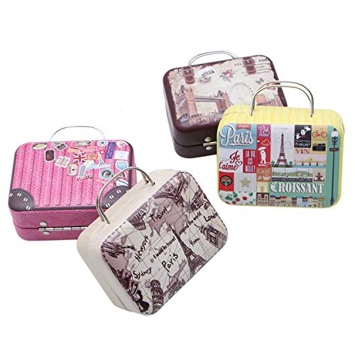 RTNOW 4pcs Mini Small Iron Vintage Cartoon Tin Box Suitcase Handbag Small Rectangular Candy Box Tin Container Jewelry Coin Storage -
