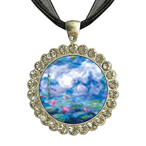 (GiftJewelryShop Silver Plate Monet's Nympheas Water Lilies White Crystal Charm Pendant Necklace)
