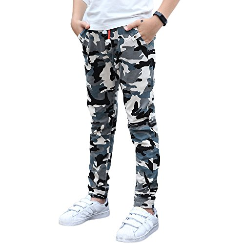 (UGREVZ Boys Pants Cotton Long Teenage and Big Camouflage Casual Clothing(FD735Blue12T))