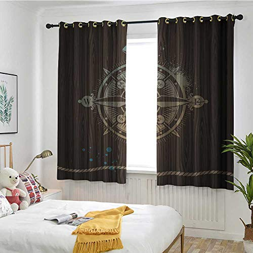 Compass Custom Curtain Boating Windrose with Ship Rope on a Wooden Background Marine Life Inspired Design Blackout Draperies for Bedroom W 72
