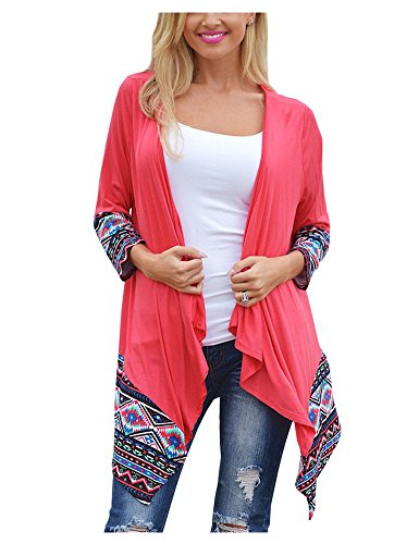 AuntTaylor Womens Bohemian Batwing Long Sleeve Shawl Kimono Cardigans Pink 2XL (Plus Size Women Clothing)