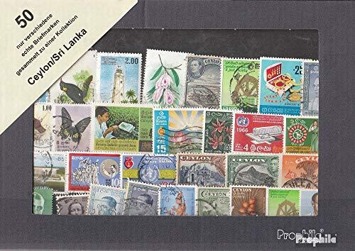 Ceylon 50 Different Stamps Ceylon/Sri Lanka (Stamps for Collectors)