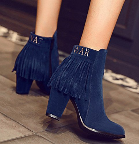 IDIFU Womens Elegant Fringes High Chunky Heel Side Zip Up Short Ankle Booties Blue bMY7803yf