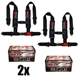 "STVMotorsports 4 Point Shoulder Harness Set - 2"" Pads - Universal H-Type - Bolt in - Latch and Link Quick Release - for Off-Road, UTV, Trucks, Side by Side (Pair) (Black)"