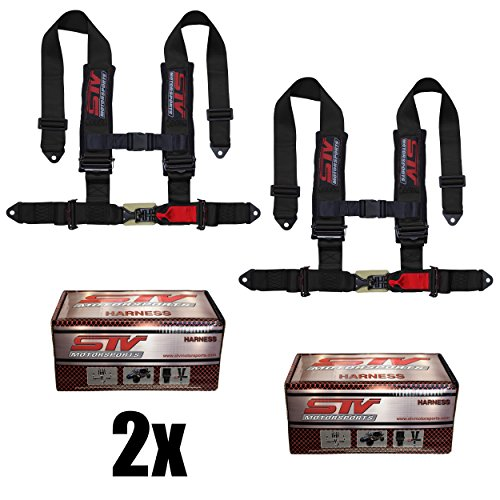 "STVMotorsports 4 Point Harness Set - 3"" Pads - Universal H-Type - Bolt In - Latch and Link Quick Release - for Off-Road, UTV, Trucks, Side by Side (PAIR) (Black)"