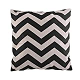 Weksi®Cotton Linen Fabric Square Striped Pillow Covers 18 X18 Cushion Cover Pinstriped Throw Pillow cover Suitable for Decorative Pillow Cover Such as Couch and Sofa Pillow Covers(Black)