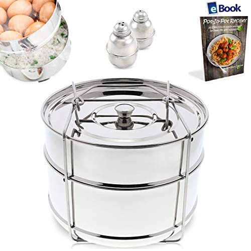 (PREMIUM Stackable Steamer Insert Pans - With Sling - BEST Bundle - Fits Instant Pot Pressure Cooker 6 Qt & 8 Quart - 100% Stainless Steel - BONUS Accessories - Salt & Pepper Shakers + eBook |Instapot)