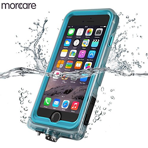 Morcare Waterproof Case with Belt Clip Armband, Protective Shockproof Full-Sealed Transparent Cover IP68 Absolutely 100% Waterpeoof for Swimming Floating Apple iPhone 6/6s-Blue