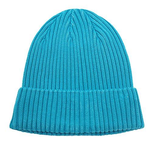 Home Prefer Retro Winter Beanie Skull Cap Warm Rib Knit Cotton Hat Cuff Beanie for Men and Women Aqua