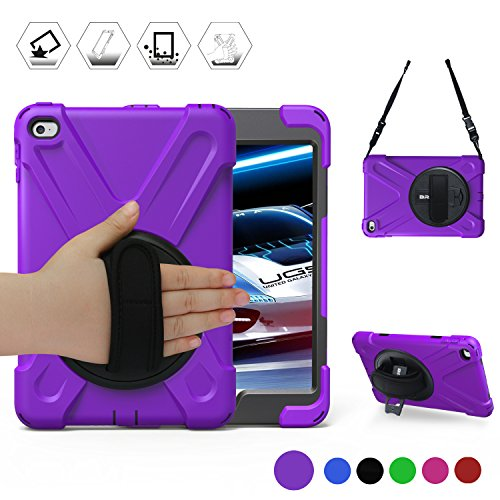 BRAECN iPad Mini4 Shockproof Case Three Layer Drop Protection Rugged Protective Heavy Duty iPad Case with a 360 Degree Swivel Stand/a Hand Strap and a Shoulder Strap for iPad Mini 4 Case (Purple)