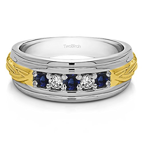 (TwoTone Silver Gent's Ring Diamonds (G-H,I2-I3) and Sapphire(0.5Ct) Size 3 To 15 in 1/4 Size)