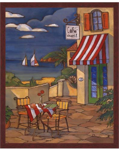 Poster Palooza Framed Cafe Cheri- 16x20 Inches - Art Print (Walnut Brown Frame)