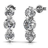 Cate & Chloe Ellie 18k White Gold Swarovski Earrings, Swarovski Crystal Drop Earrings - msrp $132