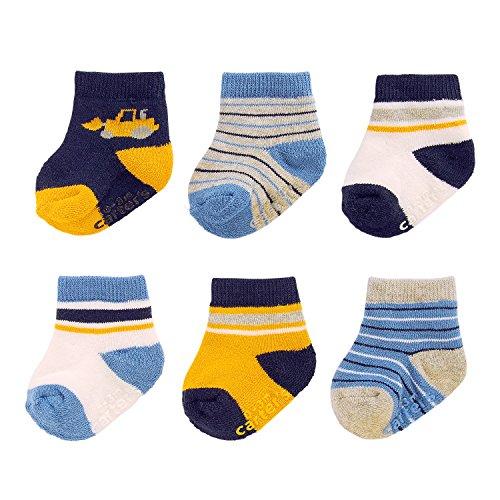 Carter's Baby Boys' Crew Socks (6 Pack), White/Navy/Yellow, 12-24 MONTHS
