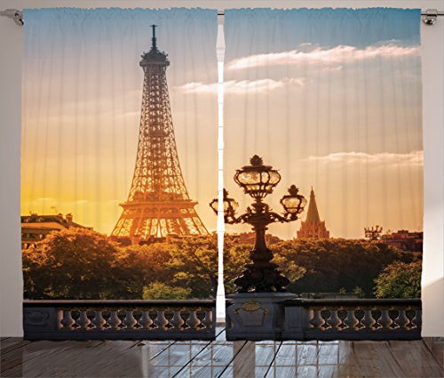 Ambesonne Wanderlust Decor Collection, Street Lantern on the Alexandre Iii Bridge Against the Eiffel Tower in Paris France Picture, Living Room Bedroom Curtain 2 Panels Set, 108 X 84 Inches, Blue - Alexandre Iii Bridge