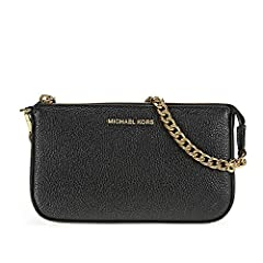 A petite MICHAEL Michael Kors pouch crafted in pebbled leather. The top zip opens to a lined, 1-pocket interior with 3 card slots. Chain wrist strap.