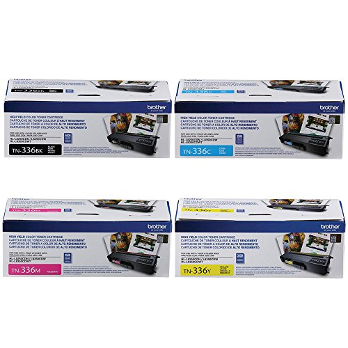 Brother TN336BK, TN336C, TN336M, TN336Y High Yield Black, Cyan, Magenta and Yellow  Toner Cartridge Set