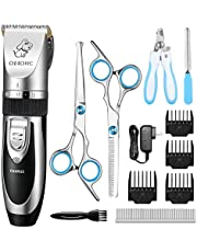 OMORC Dog Grooming Kit with Scissors Dog Nail Clippers, Low Noise Fast Charging Dog Clippers Professional Rechargeable Dog Grooming Clippers Cat Shaver cordless Pet Clippers for Dogs Cats and Other Animals with 4 Comb Guides