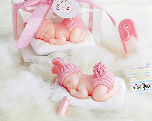 AiXiAng 12 Pack Cute Mini Sleeping Baby Girl Pink Style Handmade Smokeless Candle Gift Boxed for Guests Keepsake Gift , Baby Shower Party Favors Decor…