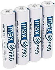 ANSMANN Micro Akku AAA 1,2V min. 750mAh inkl. Akkubox - NiMH AAA Akkus über 2100-mal wiederaufladbar - wiederaufladbare Batterien AAA maxE PRO für geringere Selbstentladung - Akku Batterien 4 Stück