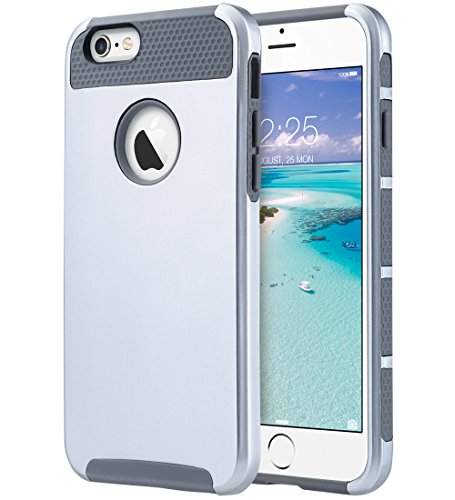 ULAK iPhone 6s Case, iPhone 6 Case, Hybrid Slim Case with Hard PC and Inner TPU Cover for Apple iPhone 6S 4.7 Inch & iPhone 6 4.7 Inch Device (Silver+Gray)