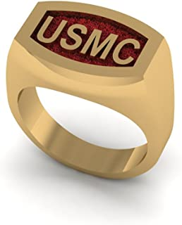 product image for 14K Yellow Gold USMC Bold Signet Ring with Red Background