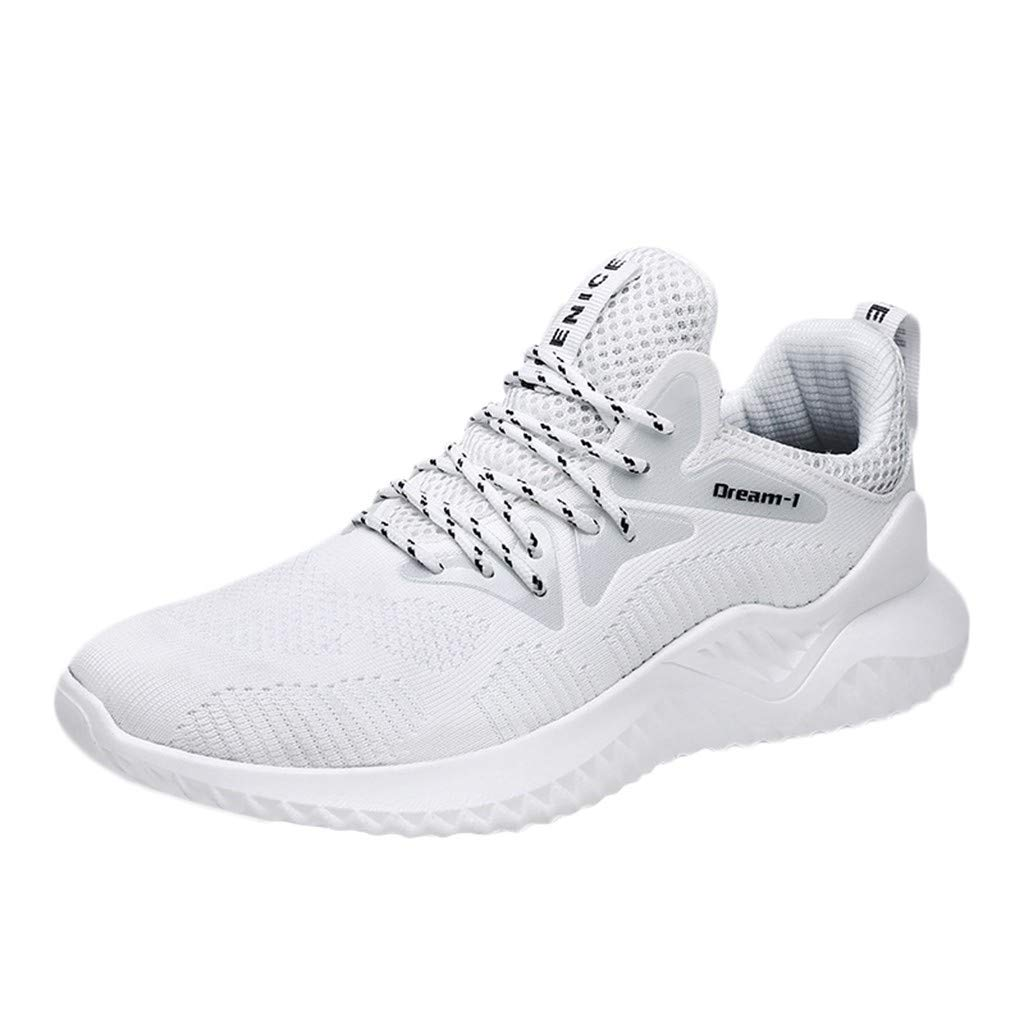 Men Running Sneakers KKGG Sport Breathable Lightweight Fashion Casual Shoes Woven Outdoor Mesh Solid Lace Up Non-Slip Flats Shoe Round Toe Climbing Wide Jogging Footwear Gym Athletic Walking