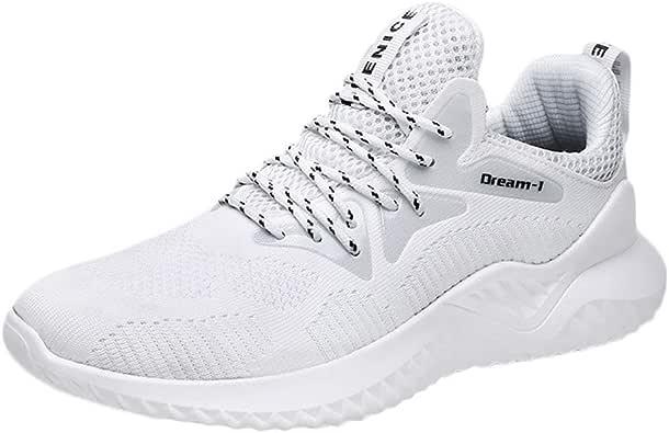 JiaMeng Zapatillas de Deporte de Malla para Correr, Deportivas y de Ocio, Ligeras Antideslizantes Cordones Air Cushion Running Sports Sneakers: Amazon.es: Zapatos y complementos
