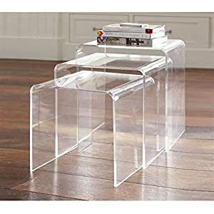 HomCom 3pc Acrylic Stackable Nesting End Side Tables - Clear