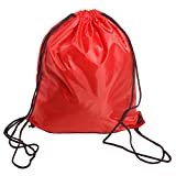 BINGONE Folding Sport Backpack Nylon Drawstring Bag Home Travel Sport Storage Use Red