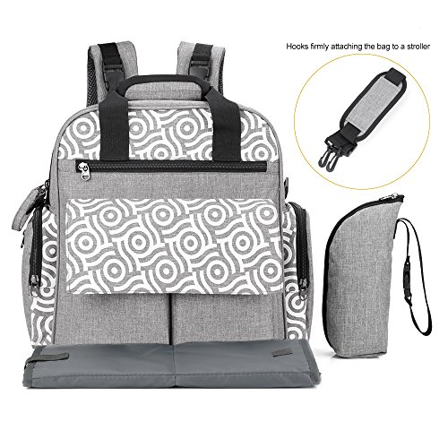 Nappy Diaper Backpack, PAVLIT 18.5L Capacity Baby Changing Bag with 14 Packing Cubes, Zip-Top Closure, Changing Mat, Pushchair Straps, Insulated Thermal Handbag for Mom & Dad (Grey)